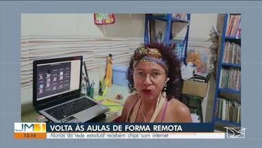 Alunos da rede estadual retomam aulas remotas após receberem chips com internet - O desafio das aulas remotas é dar acesso aos alunos que não possuem internet.