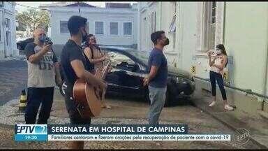 Coronavírus: familiares fazem serenata em homenagem a paciente em hospital de Campinas - Flávio Guimarães, de 54 anos, está internado no Hospital Beneficência Portuguesa e luta contra a doença há cerca de dois meses.