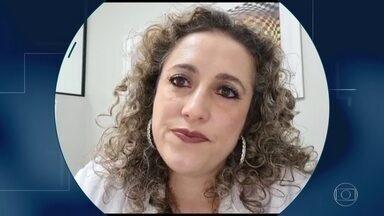 'O cansaço é físico, mental e emocional', diz endocrinologista sobre combate à Covid-19 - Tanise Damas é de Joinville, Santa Catarina, e conta que, após quatro meses de pandemia, já se sente exausta. Ela atende pacientes obesos e diabéticos.
