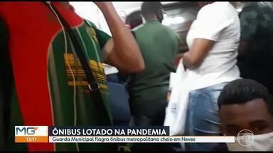 Guarda Municipal flagra ônibus metropolitano cheio em Neves - Cidade tem mais 2.500 casos confirmados da Covid-19.