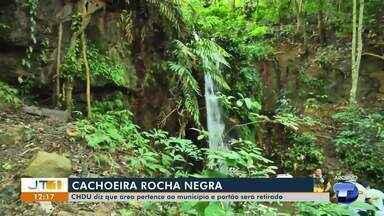 CHDU diz que área da Cachoeira Rocha Negra pertence a Prefeitura de Santarém - Portão, que impede a passagem, deve ser retirado do local.