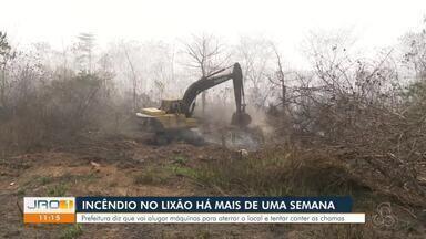 Incêndio no lixão há mais de uma semana - Prefeitura diz que vai alugar máquinas para aterrar o local e tentar conter as chamas