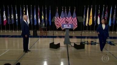 Joe Biden se apresenta pela primeira vez ao lado da candidata a vice, Kamala Harris - Evento de campanha foi no estado de Delaware