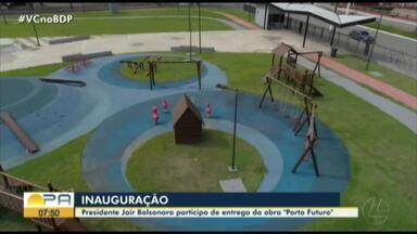 Presidente Jair Bolsonaro participa de entrega de obra em Belém - Trânsito no local está bastante congestionado.