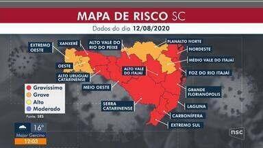 Santa Catarina tem 12 regiões em risco gravíssimo para Covid-19 - Santa Catarina tem 12 regiões em risco gravíssimo para Covid-19