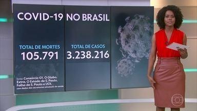 Brasil atinge 105.791 mortes por Covid e 3.238.216 infectados - Foram mais de 1,3 mil vítimas e 59.147 casos confirmados nas últimas 24 horas, aponta consórcio de veículos de imprensa.