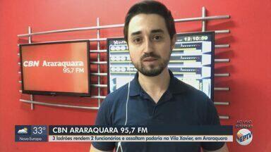 Suspeitos rendem funcionários de padaria durante assalto em Araraquara - Veja mais informações com o repórter da CBN Milton Filho.