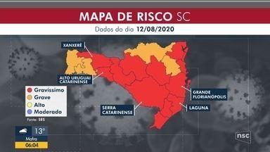 Governo de SC adota medidas diferentes em regiões com mesmo risco de contágio - Governo de SC adota medidas diferentes em regiões com mesmo risco de contágio