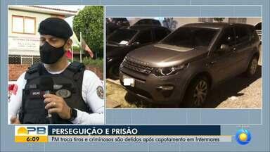 Após troca de tiros e perseguição, veículo capota e PM prende indivíduos, em João Pessoa - Perseguição aconteceu em Intermares