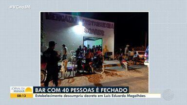 Bar com 40 pessoas é fechado no oeste da Bahia; confira - Situação aconteceu na cidade de Luís Eduardo Magalhães.