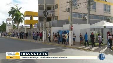 Agências bancárias da Caixa têm fluxo intenso de pessoas no norte do estado - Semana começou movimentada em Juazeiro.