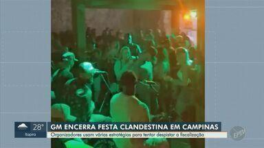 Festa clandestina reúne cerca de 150 pessoas em Campinas; Guarda dispersou aglomeração - A Guarda Municipal foi chamada e encerrou o evento. As pessoas estavam sem máscara e não respeitavam o distanciamento social.