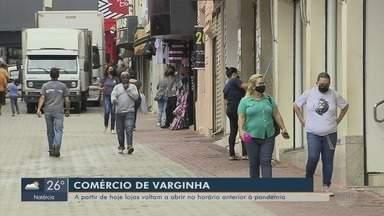 Comércio de Varginha (MG) volta a funcionar em horário normal a partir desta segunda - Comércio de Varginha (MG) volta a funcionar em horário normal a partir desta segunda