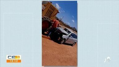 Acidente em Itapajé deixa motorista com fraturas em membros inferiores - Saiba mais em g1.com.br/ce