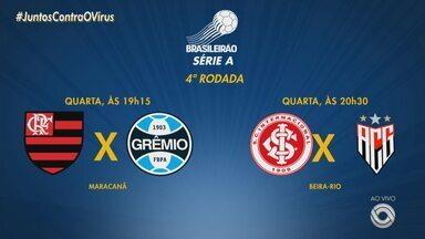 Confira os jogos da dupla Gre-Nal na 4º rodada do Brasileirão - Grêmio enfrenta o Flamengo nesta quarta-feira (19), já o Inter deve jogar contra o Atlético GO, também na quarta (19).