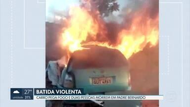 Carro pega fogo em acidente e duas pessoas morrem - Dois carros bateram de frente na BR-080, entre Brazlândia e Padre Bernardo. Um deles pegou fogo.