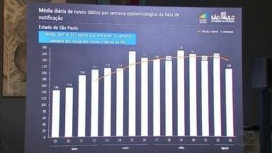 Governo de SP diz que estado registrou queda de 1% no número de mortes por Covid-19 - A Secretaria Estadual de Saúde afirmou que o estado de São Paulo registrou queda de 1% no número de mortes por Covid-19 na última semana.