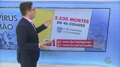 Região de Campinas tem 83.421 casos confirmados de coronavírus - O número de mortes por Covid-19 chegou a 2.530 nesta quarta-feira (19).