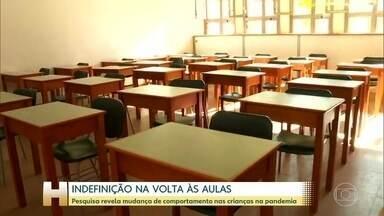Indefinição sobre a volta às aulas preocupa pais e professores - Sociedade Brasileira de Pediatria alerta que 8 em cada 10 crianças tiveram mudanças de comportamento.