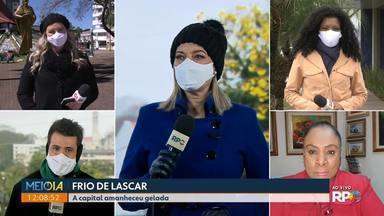 Equipes da RPC mostram o frio intenso em todo o Paraná - Palmas registrou a menor temperatura do Estado.