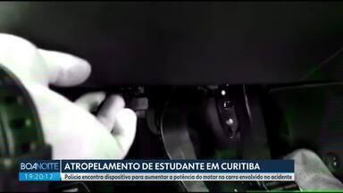 Laudo indica que carro que atropelou e matou estudante foi alterado para ter mais potência - A polícia trabalha com a hipótese de racha praticado por este carro e outro, envolvido no acidente em Curitiba.