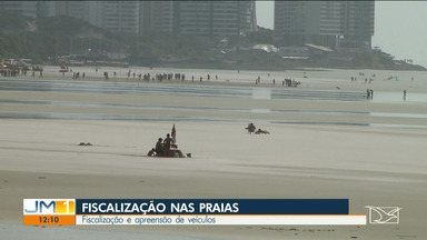 Veículos são apreendidos durante fiscalização em praias da Região Metropolitana da capital - Operação tenta impedir a realização de festas e a utilização de som automotivo acima do permitido nas praias.
