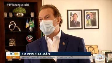 Mauro Carlesse fala ao vivo após reunião com a prefeita de Palmas no Palácio Araguaia - undefined