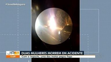 Duas mulheres morrem em acidente de moto em Itumbiara - Uma das motos pegou fogo.