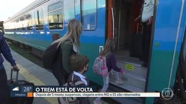 Trem que liga BH a Vitória volta a funcionar - Depois de 5 meses suspensas, viagens foram retomadas nesta terça-feira.