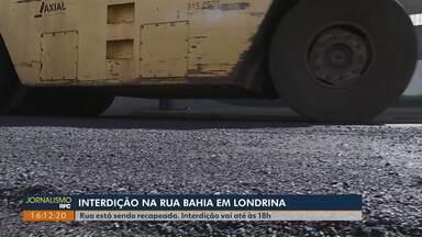 Rua Bahia, em Londrina, é interditada para obra de recape do asfalto - Interdição vai até às 18h desta terça-feira (01), no trecho entre a Rio Grande do Norte e a São Salvador