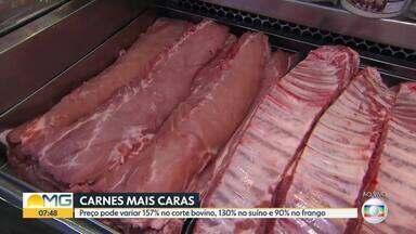Carnes de boi, porco e frango estão mais caras em Belo Horizonte e Região Metropolitana - Pesquisa do site Mercado Mineiro revela que o preço pode variar 157% no corte bovino, 130% no suíno e 90% nos cortes de frango.