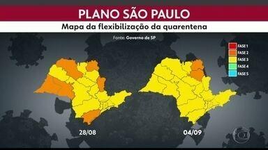 À exceção de Franca e Ribeirão Preto, 95% das regiões do estado estão na fase amarela - Governo vai anunciar mudanças no Plano SP de flexilibização.
