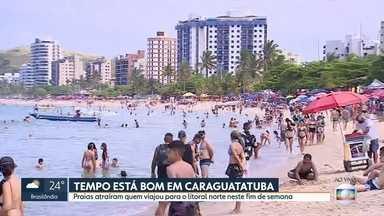 Tempo bom atraiu turistas pras praias do estado - Caraguatatuba e Guarujá tiveram praias cheias neste sábado.