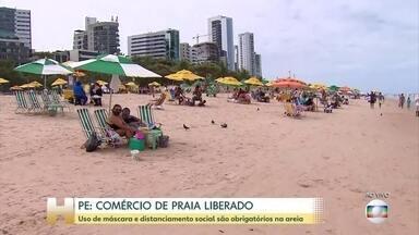 Uso de máscara e distanciamento social são obrigatórios na areia das praias do Recife - Em Pernambuco, o feriadão da Independência coincide com o primeiro fim de semana depois da liberação do comércio nas praias.