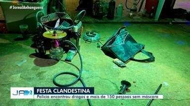 Polícia encontra drogas e mais de 150 pessoas sem máscara em festa clandestina, em Goiânia - Organizadores foram multados em R$ 75 mil.