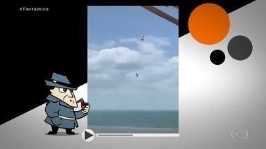 Detetive Virtual: vídeo de homem nas alturas durante kite surf é verdadeiro ou falso? - Nas imagens, a mulher e amigos registram Cássio voando cada vez mais alto e, apesar do susto, parecem calmas demais. O Fantástico o procurou para saber o que aconteceu.