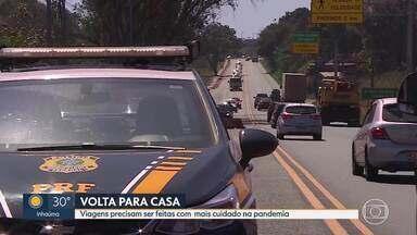 Motoristas vão enfrentar estradas cheias no feriado da Independência - A Polícia Rodoviária Federal pede cautela. Com a flexibilização do isolamento social e o recesso, as rodovias estarão mais movimentadas nesta segunda-feira (7).