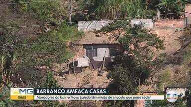 Prefeitura de Belo Horizonte vai fazer vistoria em barranco que ameaça casas - Moradores do bairro Novo Lajedo, na Região Norte de BH, estão preocupados com encosta que pode ceder.