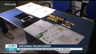 Falsificador de diplomas de conclusão de ensino médio é preso em Altamira - Venda dos documentos era feita pelas redes sociais.