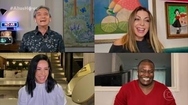 Sheila Mello, Scheila Carvalho e Jacaré, do É o Tchan, se reencontram virtualmente - Serginho comanda papo e lembra épocas diferentes do grupo
