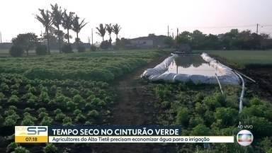 Clima seco obriga agricultores a economizarem água na irrigação - Falta de chuvas preocupa quem depende do Cinturão Verde, em Mogi das Cruzes.