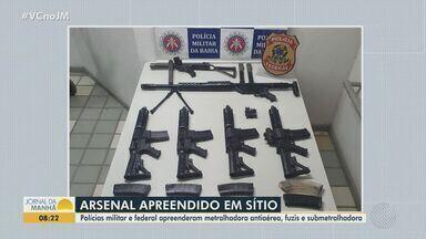 Operação das polícias Federal e Militar apreende armamento pesado em Belmonte - Um arsenal foi encontrado em um sítio no município.