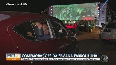 Baianos e sulistas celebram a tradicional 'Semana Farroupilha' no oeste do estado - Este ano, por causa da pandemia, o evento foi realizado em formato de drive-in.