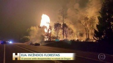 Mais de 20 pessoas estão desaparecidas desde que os incêndios avançaram por Oregon, EUA - Nos Estados Unidos, mais de vinte pessoas estão desaparecidas desde que os incêndios florestais avançaram pelo estado do Oregon. 36 pessoas morreram.