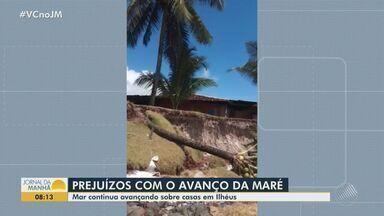 Força da maré continua causando prejuízos em parte da orla de Ilhéus, na região sul - Há previsão de maré alta nesta quarta-feira (16), aumentando a preocupação da comunidade local.