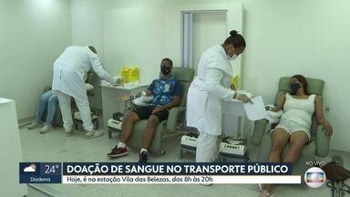 Carreta coleta doações de sangue no transporte coletivo - Ação ocorre nesta quarta-feira na estação Vila das Belezas, no Metrô.