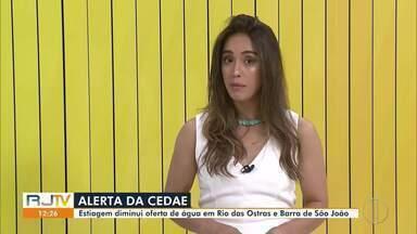 Cedae alerta para a falta de água em Rio das Ostras e Barra de São João - Segundo a Companhia, o motivo é o baixo nível do rio Macaé, por causa da estiagem.