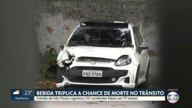 Estado de SP registrou em média 300 acidentes por mês envolvendo suspeita de embriaguez - Começou nesta sexta (18) a Semana Nacional de Trânsito, que serve para promover campanhas de segurança para diminuir os acidentes.