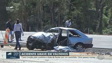 Colisão frontal entre carro e caminhão deixa uma pessoa morta em Valinhos - Acidente aconteceu no km 3 da Rodovia dos Agricultores e carreta chegou a tombar. Motorista do veículo morreu no local.