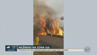 Ministério Público procuram por suspeito de atear fogo na zona sul de Ribeirão Preto - Incêndio destruiu área de mais de 400 hectares na sexta-feira (18) e foi criminoso, segundo a promotora Cláudia Habib. Polícia Civil também investiga o caso.